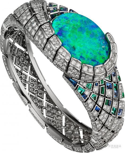 时间的璀灿之美!卡地亚神秘小时Aqualis珠宝表;CARTIER、卡地亚、珠宝表、蛋白石