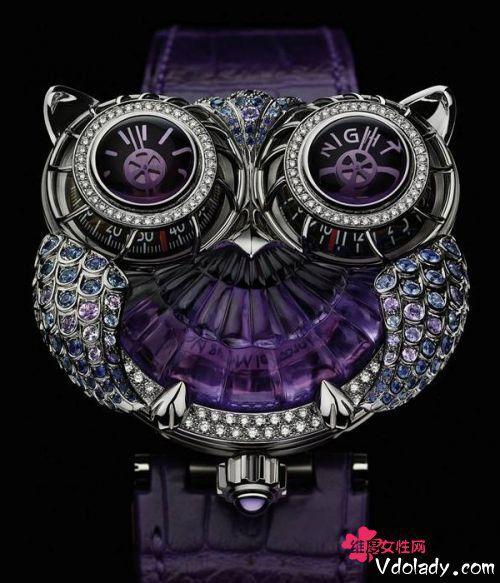 宝诗龙推出以猫头鹰为造型的珠宝腕表