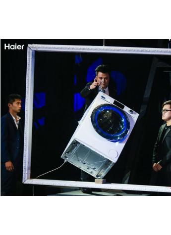 海尔展示斜立洗衣机感恩中国用户