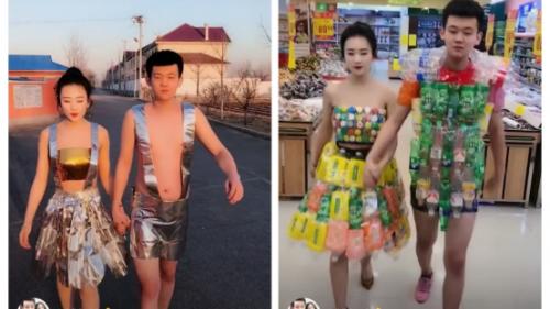 鞍山小情侣自制时尚服装走秀被赞潮流,网友:土味时尚教主