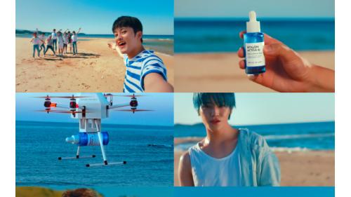 自然乐园新推透明质酸蓝胶囊精华,宣传片主打蓝色诱惑