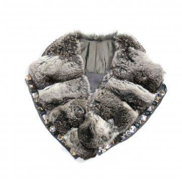 皮草女神系列南美灰鼠皮水晶装饰衣领