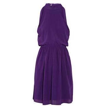 紫晶色弹力混纺连衣裙