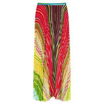 抽象印花薄纱及脚踝半裙