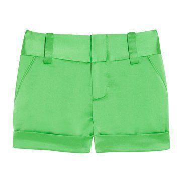 明亮绿缎短裤