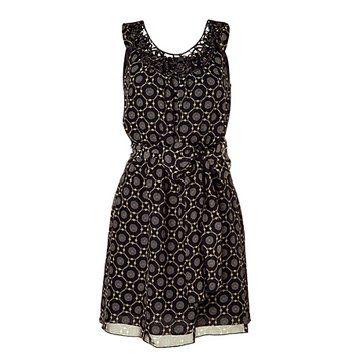 黑色印花无袖连衣裙