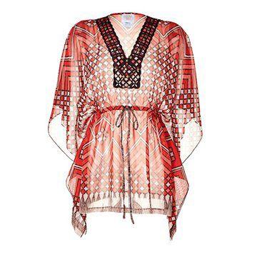真丝面料橙色印花V领连衣裙