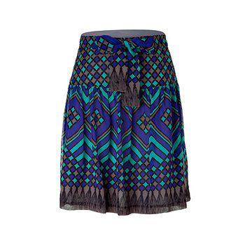 真丝面料蓝绿色印花短裙