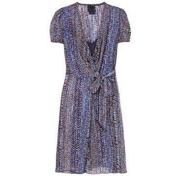 多色印花短袖系带连衣裙