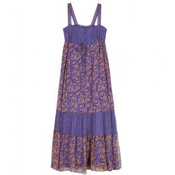 紫色拼接碎花图案吊带连衣裙