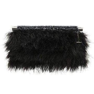 黑色羽毛晚装包