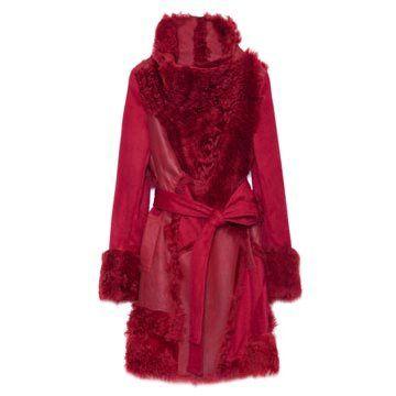 枣红色拼接大衣