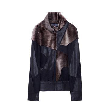 黑色毛皮拼接外套