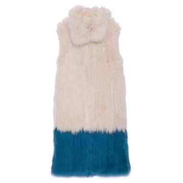 白蓝色毛皮连衣裙