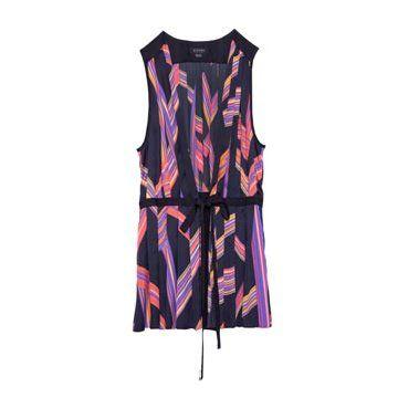 紫黑条纹条格真丝连衣裙
