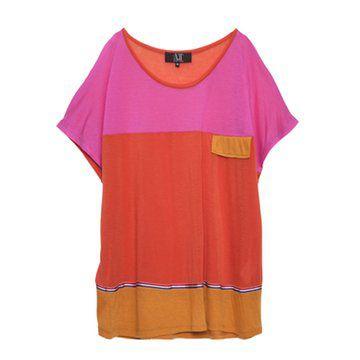 红色系拼接短袖T恤