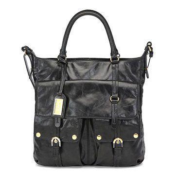 黑色皮革中型手提包