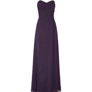 紫色百褶雪纺礼服