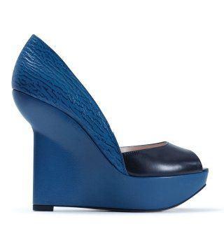 Asiya海蓝色露趾厚底坡跟鞋