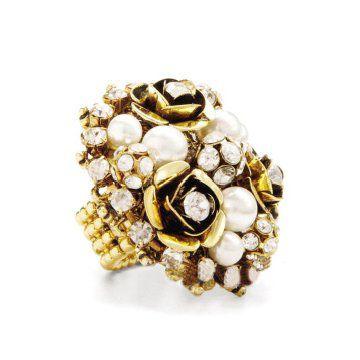 镶珍珠花形戒指