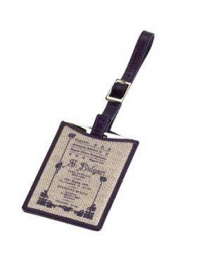 天然人字纹帆布水晶紫旅行箱吊牌
