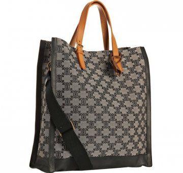 黑色帆布提花皮革手提包