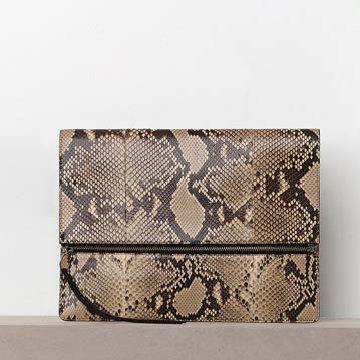 棕色蟒蛇皮手拿包