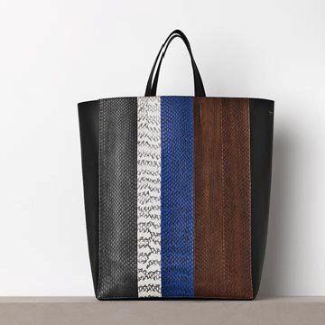 多色蛇皮拼接手提包