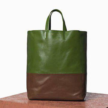油绿色羊皮拼贴手提包