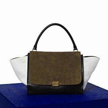 深棕色麂皮拼贴手提包