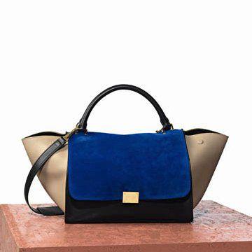 宝蓝色麂皮拼贴手提包