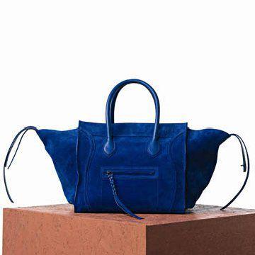 宝蓝色麂皮手提包
