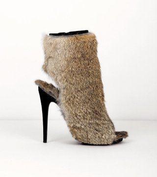兔毛鱼嘴高跟短靴