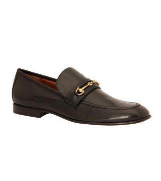 搭扣饰黑色正装皮鞋