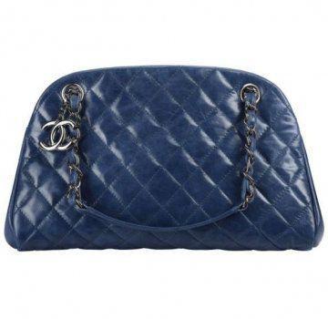 蓝色皮质手拎包