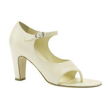 白色皮质夹脚凉鞋