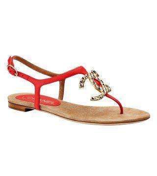 红色细皮带凉鞋