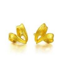 足金树纹丝带耳环