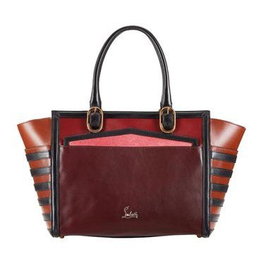 枣红色拼接手提包