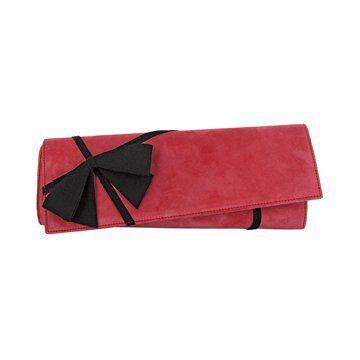 玫粉色丝绒手拿包