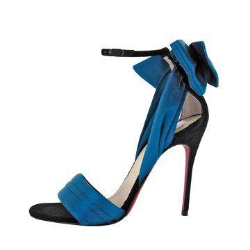 蓝色丝绒蝴蝶结缎面高跟鞋