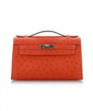 限量现货橘色鸵鸟皮Mini Kelly手提包