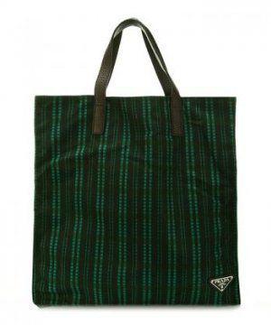 春夏新款绿黑格纹图案尼龙大号手提袋