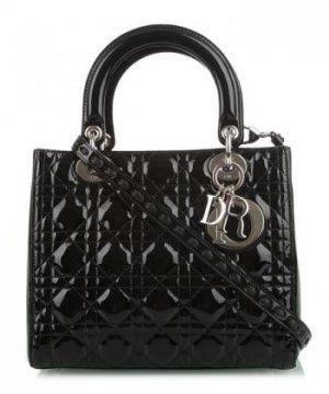 黑色漆皮菱形压纹Lady Dior两用小号手袋