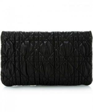 黑色真皮菱形褶皱手拿包