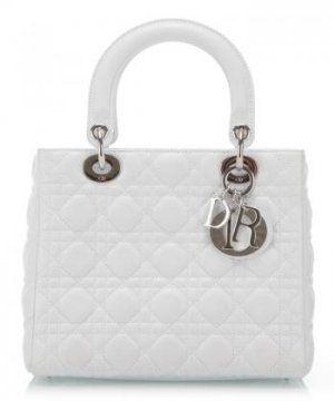 经典白色羊皮菱形压纹Lady Dior两用小号手提袋