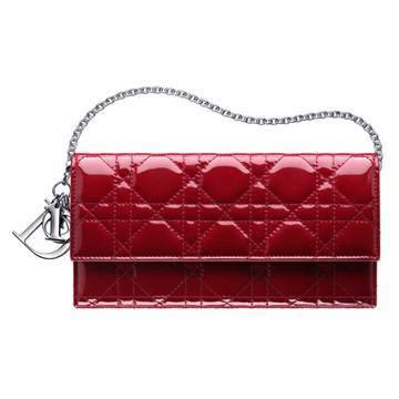 LADY DIOR红色绗缝漆皮皮夹