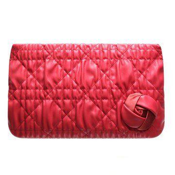 011新款珊瑚红色小羊皮玫瑰花装饰女士晚宴包手拿包