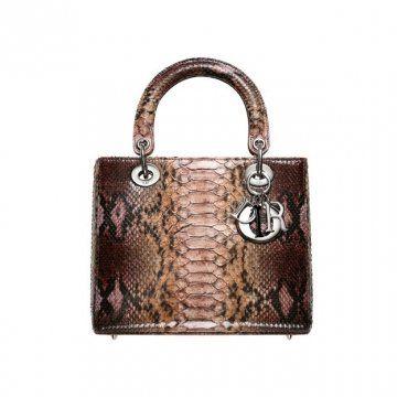 LADY DIOR粉红色和巧克力色蟒蛇皮手提包