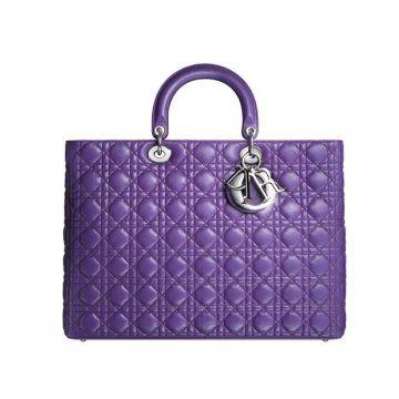 LADY DIOR紫色皮革购物袋